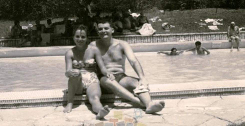 <p>Zvia and Danny Ludmer relaxing in the pool at the Beit Remez Convalescent Home in Zichron Yaakov, 1962. (copyright Israel Revealed to the Eye)</p>